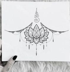 Ideas Tattoo Ideen Frauen Cover Up Kritzelei Tattoo, Sternum Tattoo Design, Mandala Sternum Tattoo, Lace Tattoo, Piercing Tattoo, Tattoo Designs, Piercings, Chest Piercing, Badass Tattoos