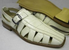 Giorgio Brutini Mens Bone Color Leather Dress Sandals 210149-2