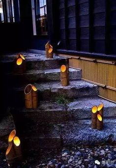 Creating a truly modern garden lighting design can add so much to your home. All types of properties can benefit from a garden lighting make. Bamboo Light, Bamboo Art, Bamboo Crafts, Backyard Lighting, Outdoor Lighting, Lighting Ideas, Lighting Design, Interior Lighting, Terrace Garden Design