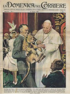 "January 1959 Walter Molino, an illustrator who replaced Achille Beltrame, dedicated the cover design to Orlando Orfei and Pope John XXIII. In the fifties, ""La Domenica del Corriere"" was the top-selling weeklies with copies (with a peak of million in Magazine Illustration, Illustration Art, Juan Xxiii, Pope John, Alexander The Great, Illustrations And Posters, Cover Design, Lions, Graphic Art"