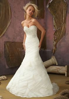 Organza Long Ribbon Glamorous Beaded Trumpet Wedding Dress
