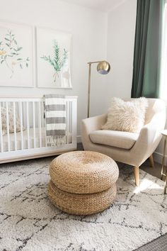 White and green nursery features botanical prints placed over a Babyletto Scoot . baby , White and green nursery features botanical prints placed over a Babyletto Scoot . White and green nursery features botanical prints placed over a Ba. Baby Room Decor, Room Baby, Babies Nursery, Ikea Baby Nursery, Simple Baby Nursery, Nursery Themes, Boho Nursery, Nursery Prints, Baby Room Green