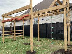 Backyard Jungle Gym, Backyard Plan, Backyard Playground, Backyard For Kids, Backyard Projects, Backyard Patio, Diy Projects, Kids Ninja Warrior, American Ninja Warrior Obstacles