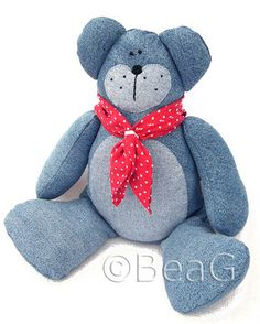 teddy bear from old jeans