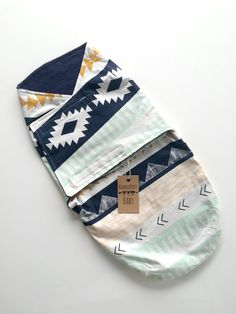 Baby Boy Blue Aztec Velcro Swaddle by ShopBumbleBerryBaby on Etsy