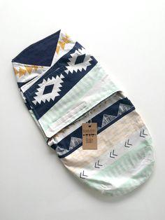 Baby Boy Blue Aztec Velcro Swaddle by ShopBumbleBerryBaby on Etsy