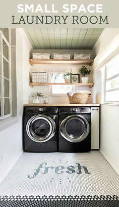 This tiny laundry room is packed with DIYs and inexpensive upgrades!