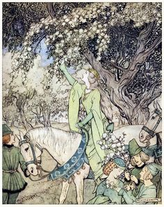 How Queen Guenever rode a-maying into the woods. Arthur Rackham, from The romance of King Arthur, abridged from Malory's Morte d'Arthur by Alfred W. Pollard, New York, 1920.