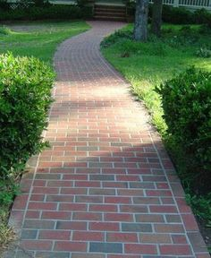 A slightly windy brick walkway adds a lot of character and flows more consistently with the existing brick steps. Wood Walkway, Brick Pathway, Outdoor Walkway, Front Walkway, Brick Pavers, Outdoor Landscaping, Front Yard Landscaping, Outdoor Gardens, Brick Courtyard