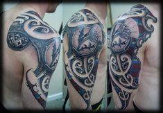 Custom-New-Zealand-Maori-Ta-Moko-Kirituhi-Pacific-Tribal-Half-Sleeve-with-Thistle-Flower-and-Tartan-Color-Tattoo-Design_tattoo-gallery.jpg (1298×900)