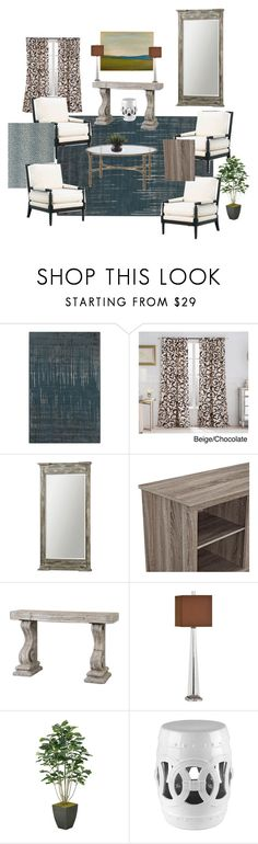 """""""Campbell Living"""" by annschutte on Polyvore featuring interior, interiors, interior design, home, home decor, interior decorating, Surya, VCNY, Uttermost and Abbyson Living"""