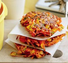 Spiced carrot, capsicum and corn fritters | Australian Healthy Food Guide