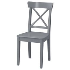 IKEA - INGOLF, Chair, gray, Solid wood is a durable natural material. For increased stability, re-tighten the screws about two weeks after assembly and when necessary. Can be used with INGOLF chair pad for enhanced seating comfort. Gray Dining Chairs, Metal Chairs, Kitchen Chairs, Dining Room, Chair Pads, Chair Cushions, Ikea Ingolf, Foldable Chairs, Windows