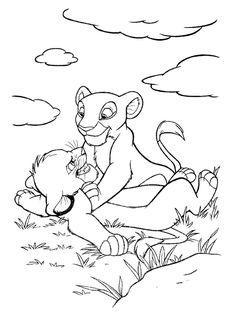 Simba And Nala On Birds Lion King Coloring Pages - Disney Coloring - Coloring Home Pages Disney Coloring Sheets, Lion Coloring Pages, Cartoon Coloring Pages, Coloring Pages To Print, Coloring Books, Disney Sketches, Disney Drawings, Cute Drawings, Drawing Sketches