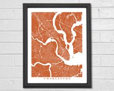 Charleston Streets Map Art - Map Print - Customized Map - City Collection by TheMapCollection on Etsy https://www.etsy.com/listing/229147832/charleston-streets-map-art-map-print