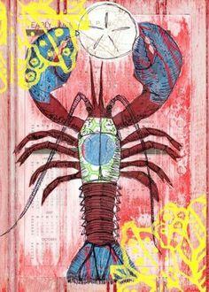Lobster Art Print of Original Painting Coastal Decor Beach Decor Surf Decor Beach Art Surf Baby Nursery Beach Nursery Decor Kids Room Decor on Etsy, Surf Nursery, Nursery Art, Nursery Decor, Room Decor, Beach Cottage Decor, Coastal Decor, Lobster Art, Red Lobster, Surf Decor