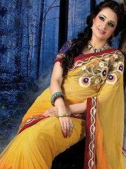 Sunset yellow and orange shaded saree: KSR2322