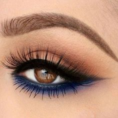 Blue and brown eye makeup