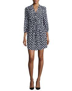 TBV7N kate spade new york mini faye floral-print silk shirtdress