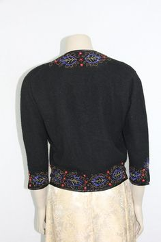 1950s Vintage Cardigan Beaded Sweater Black CASHMERE with