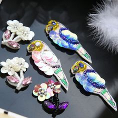 Bird 3d flowers Beaded Lace applique patches sequins embroidery patch DIY Clothes and shoes decorative accessories