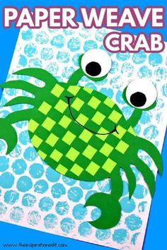 This paper crab craft from the Inspiration Edit is so much fun for kids! You have to weave the paper together so it is a great way to work on fine-motor skills. Your kids will love creating something so cool! Try making this paper weave crab this summer! Craft Projects For Kids, Paper Crafts For Kids, Easy Crafts For Kids, Toddler Crafts, Project Ideas, Art Projects, Summer Preschool Activities, Printable Activities For Kids, Preschool Crafts