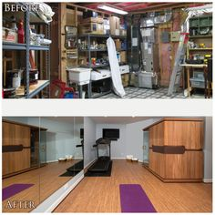 Transform a basement utility room into a relaxing, rejuvenating workout room with space for Yoga and a sauna.