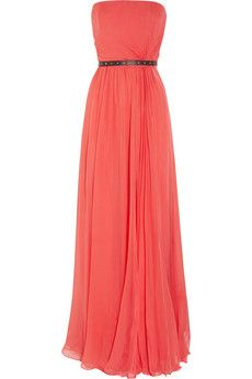 FashionBridesMaid: Belted silk-chiffon strapless gown