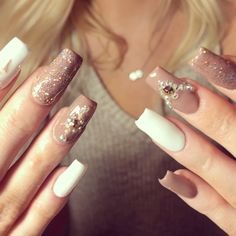"""Source by wendyliborio """" title=""""Nude Nails""""> Nude & White Nails ? Source by wendyliborio """" title=""""Nude Nails""""> Nude & White Nails ? Source by wendyliborio """" title=""""Nude Nails""""> Nude & White Nails ? Nail Art Designs, Colorful Nail Designs, Nail Polish Designs, Acrylic Nail Designs, Nails Design, Ongles Bling Bling, Bling Nails, Glitter Nails, Long Acrylic Nails"""