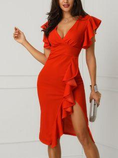 V-Neck Ruffles Design Slit Sheath Dress Affordable Prom Dresses, Cheap Prom Dresses, Cute Dresses, Beautiful Dresses, Casual Dresses, Short Dresses, Fashion Dresses, Formal Dresses, Midi Dresses