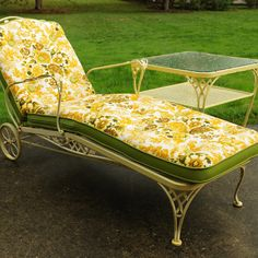 Vintage Wrought Iron Chaise Lounge with Cushion and Side Table   EBTH Sun Lounger Cushions, Outdoor Furniture, Outdoor Decor, Wrought Iron, Table, Vintage, Home Decor, Decoration Home, Room Decor