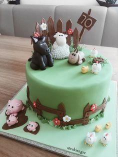 Fondant-Torte mit Bauernhof-Motiv #torte #cake #birthday #fondant #bauernhof #farm #sheep #goat #pig #donkey Goat Ideas, Torte Cake, Cake Birthday, Donkey, Sheep, Cakes, Desserts, Food, Fondant Cakes