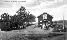 Värmland Årjängs kommun Töcksfors Hånsfors Handelsbutik med folk utanför tidig 1900-tal