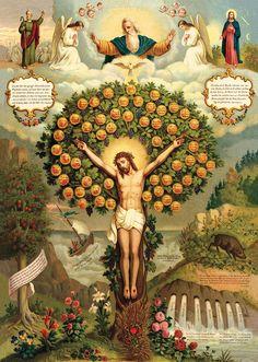 El árbol de la vida celestial Confirmación autobuses Bautismo San butten Sankt A3 0130 - Biller Antik