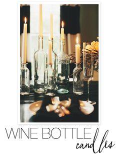 Wine-Bottle-Candles-DIY DIY Wedding centerpiece candles in clear wine bottles. Wine Bottle Candle Holder, Wine Bottle Crafts, Wine Bottles, Candle Holders, Halloween Dinner, Diy Halloween, Halloween Makeup, Diy Wedding Projects, Diy Projects