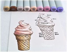 Coloring ice cream with Copic markers by Debbie Olson