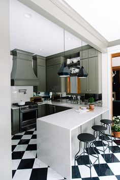 Kitchen Renovation Olive Green Cabinets and Black and White Modern - The Makerista