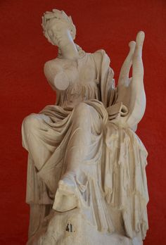 Terpsichore holding a lyre, muse of dancing and choral song, unearthed at Hadrian's Villa, Tivoli