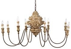 Regina Andrew Lighting Antique Wood Carved Chandelier @Sarah Chintomby Nasafi Grayce