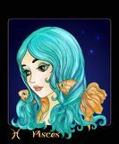 Pisces. A young beautiful girl In the form of one of the signs. Pisces. A young beautiful girl In the form of one of the signs of the zodiac. Colorful stock Royalty Free Stock Image