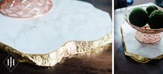 DIY Tutorial: How to Make a Gilded Edge, Faux Marble Platter | Capitol Romance ~ Practical & Local DC Area Weddings | Images & Tutorial by Jenn Heller Design Co.