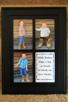"""Last year I made this gift for my hubby for Father's Day where I took pictures of my kids in Daddy's work boots and put them in a frame with the quote """"With Every Step, I try to hard to Walk in your Shoes."""" You can see my blog post HERE about it. A very …"""