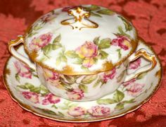 Haviland Limoges Bouillon Cream Soup Cup Saucer Pink Yellow Roses Gold.