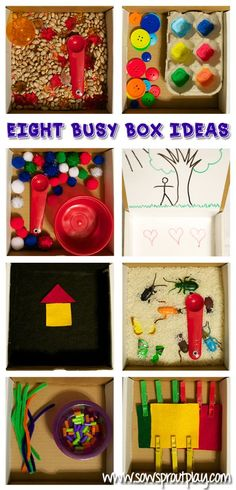 Eight Busy Box Ideas for On-The-Go or for at home! Super simple play ideas to keep kids busy!