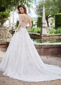 15b1816acf94 Elegant Metallic Lace Long Sleeve Tulle Ballgown Wedding Dress