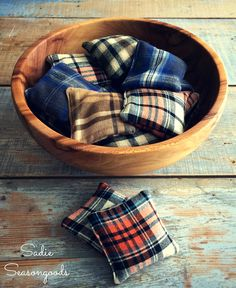 Thrift store flannel shirts repurposed upcycled into reheatable reusable hand warmers by Sadie Seasongoods
