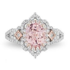 Enchanted Disney Aurora Oval Morganite and CT. Diamond Scallop Frame Engagement Ring in Two-Tone Gold Enchanted Disney Aurora Oval Morganite and CT. Diamond Scallop Frame Engagement Ring in Two-Tone Gold Morganite Engagement, Rose Gold Engagement Ring, Vintage Engagement Rings, Oval Engagement, Engagement Ideas, Wedding Rings Rose Gold, Bridal Rings, Wedding Jewelry, Gold Wedding