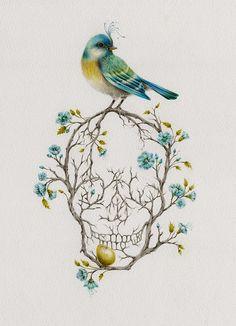 New Bird Skull Illustration Death Ideas Tatto Skull, Tatoo Art, Pretty Skull Tattoos, Tattoo Music, Future Tattoos, New Tattoos, Tattoo Caveira, Tattoo Collection, Catrina Tattoo