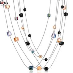 NFS Top Quality Square Crystal Double Layer Long Tassel Necklace Women Fashion Jewelry Wholesale White Gold Plated Drop Ship