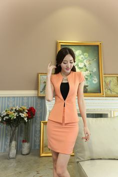 Uniform Design Slim Fashion 2015 Summer Short Sleeve Business Women Suits With Jackets And Skirt For Ladies Office Blazers Set